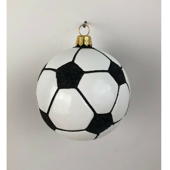 None Other - Christmas Ornament Soccer Ball Glass Black White